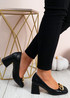 Carmen Black Block Heel Pumps