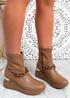 Noji Khaki Wedge Ankle Boots