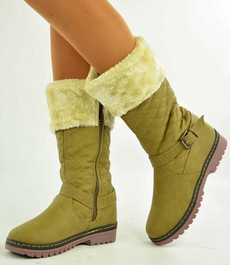Khaki Knee High Boots