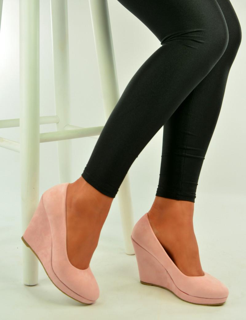 Pink Suede High Heel Pumps Wedges Sandals