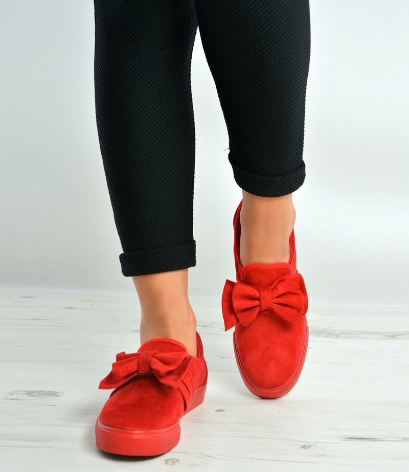 Red Bow Trainers Flat Plimsolls
