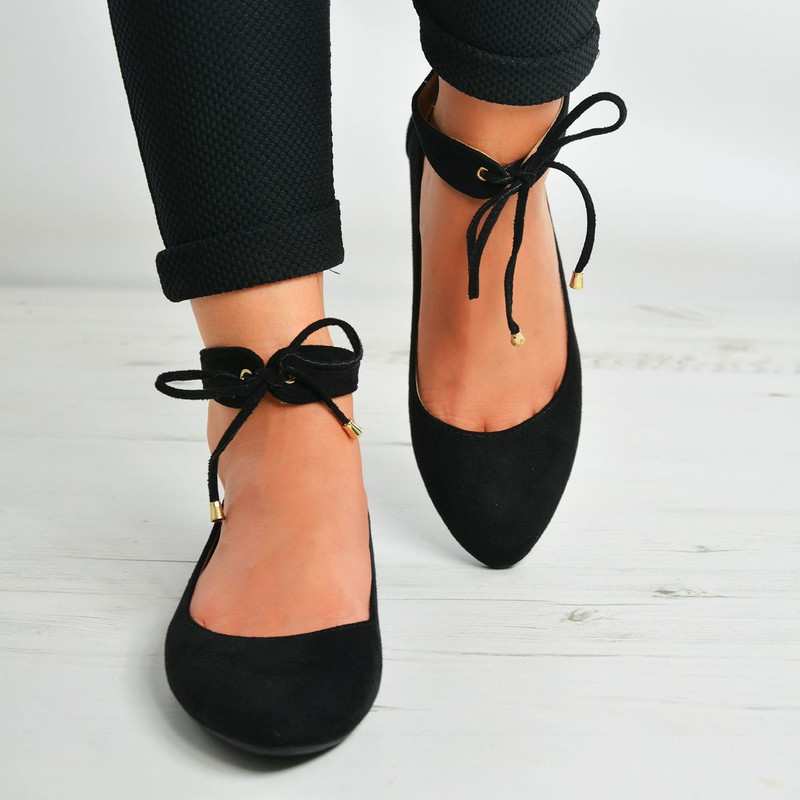 Larissa Black Suede Back Zip Ankle Strap Ballerinas