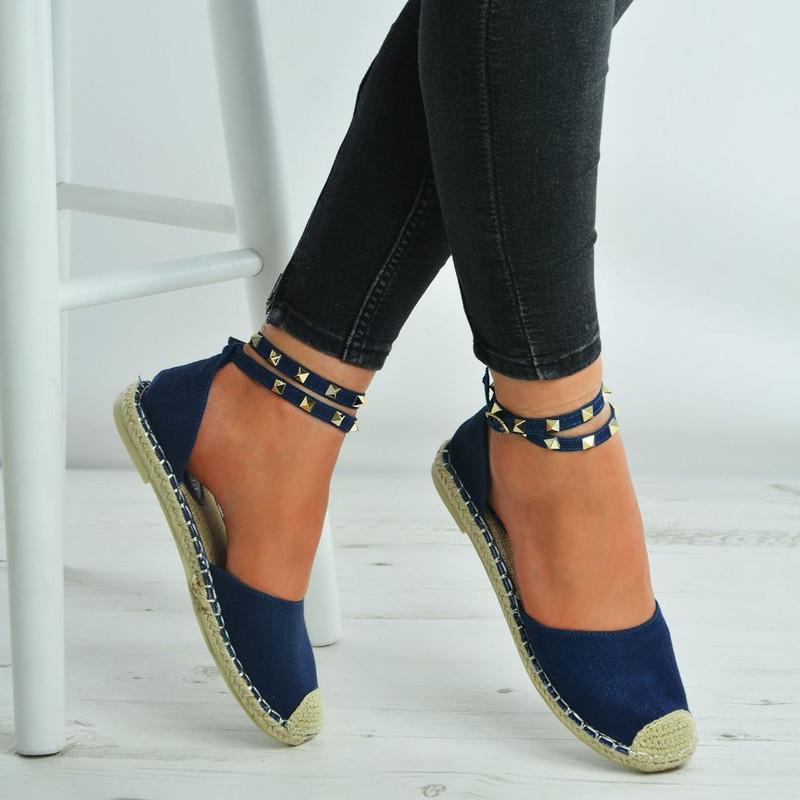 Amber Blue Canvas Rock Studs Ankle Strap Espadrilles