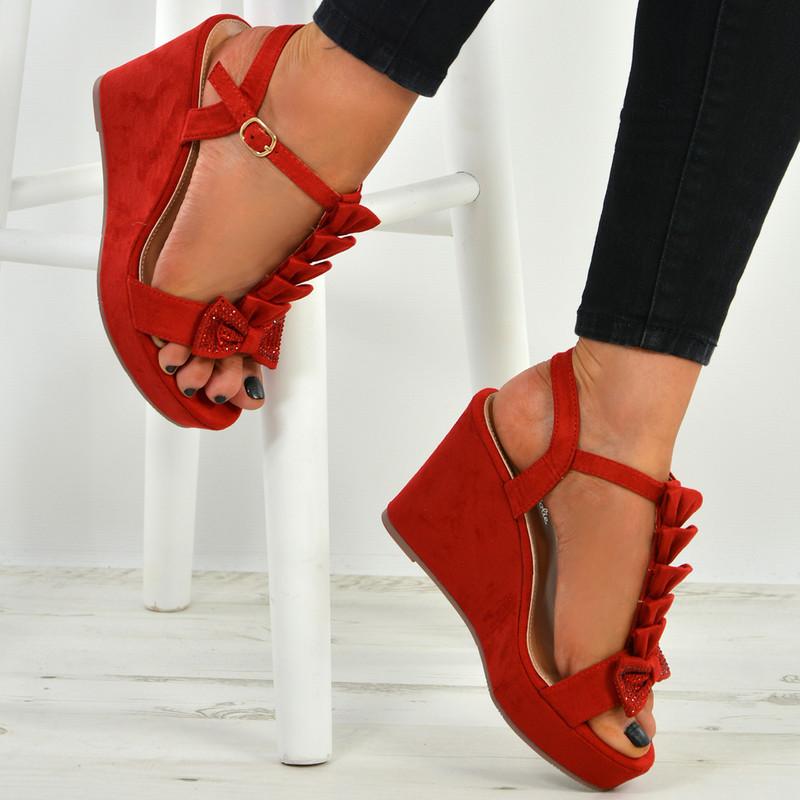 Juliet Red Bow Wedge Platforms
