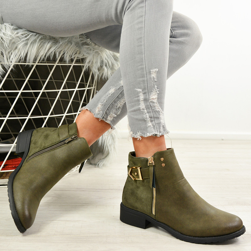 Shea Army Green Zip Ankle Boots