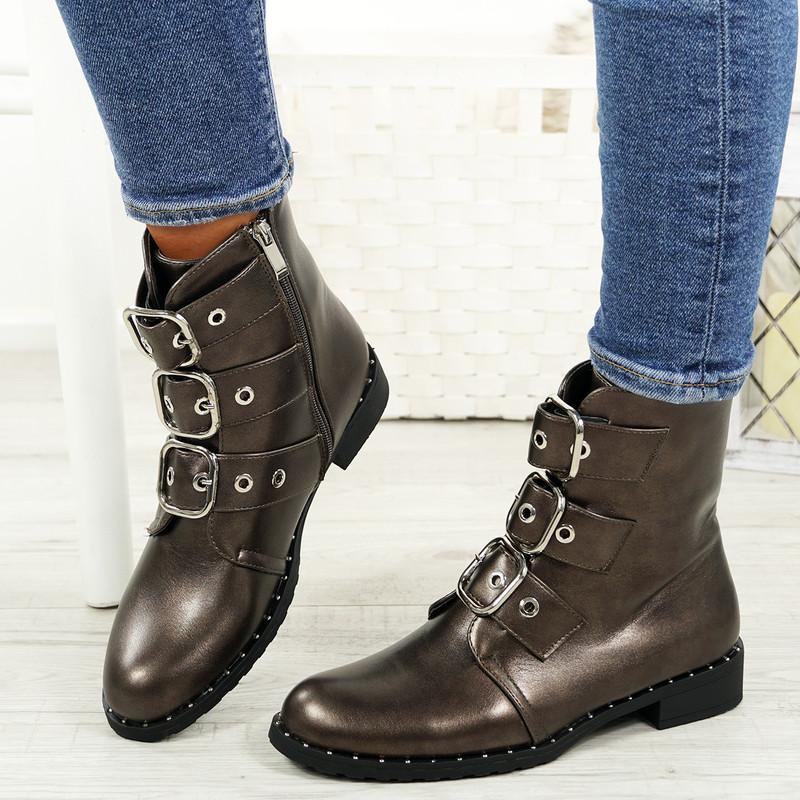 Leyga Bronze Pu Biker Ankle Boots
