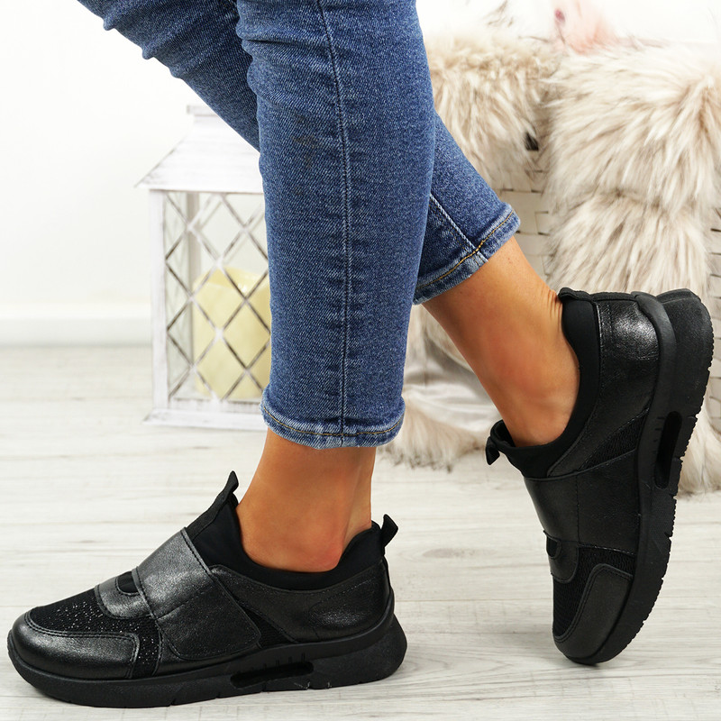 Griley Black Shiny Trainers