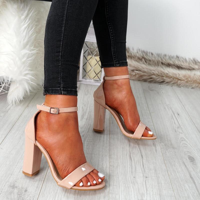 Nove Nude Block Heel Sandals