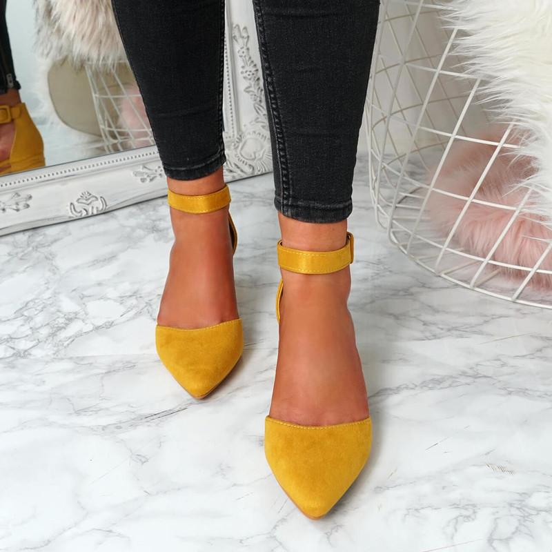 Onia Yellow Mid Heel Pumps