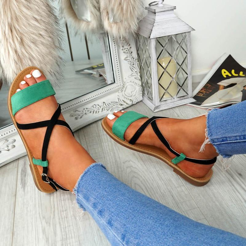 Nura Olive Flat Sandals