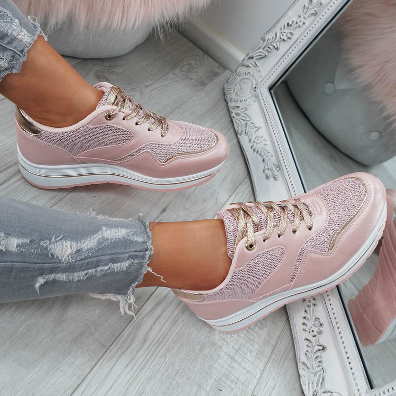 Silyn Pink Glitter Trainers