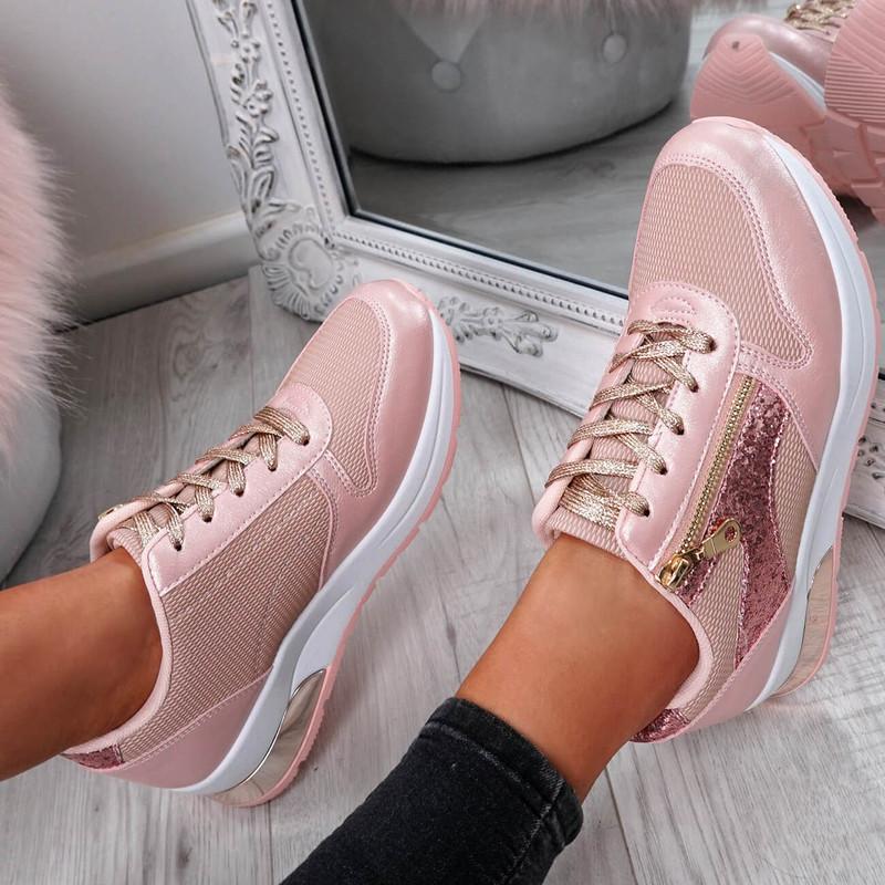 Hobe Pink Zip Detail Trainers