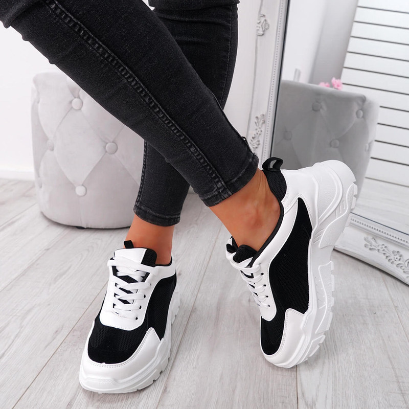 Sunna Black Chunky Trainers
