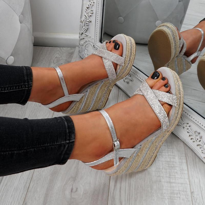 Inga Silver Studded Sandals