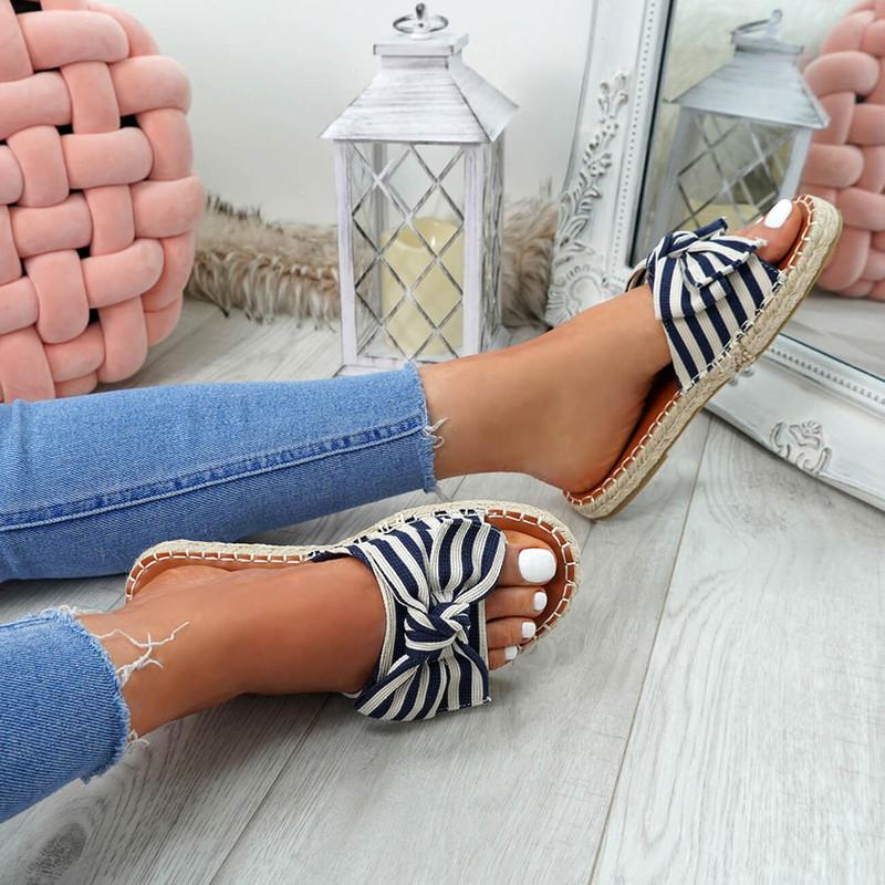 Voka Navy Bow Flat Sandals