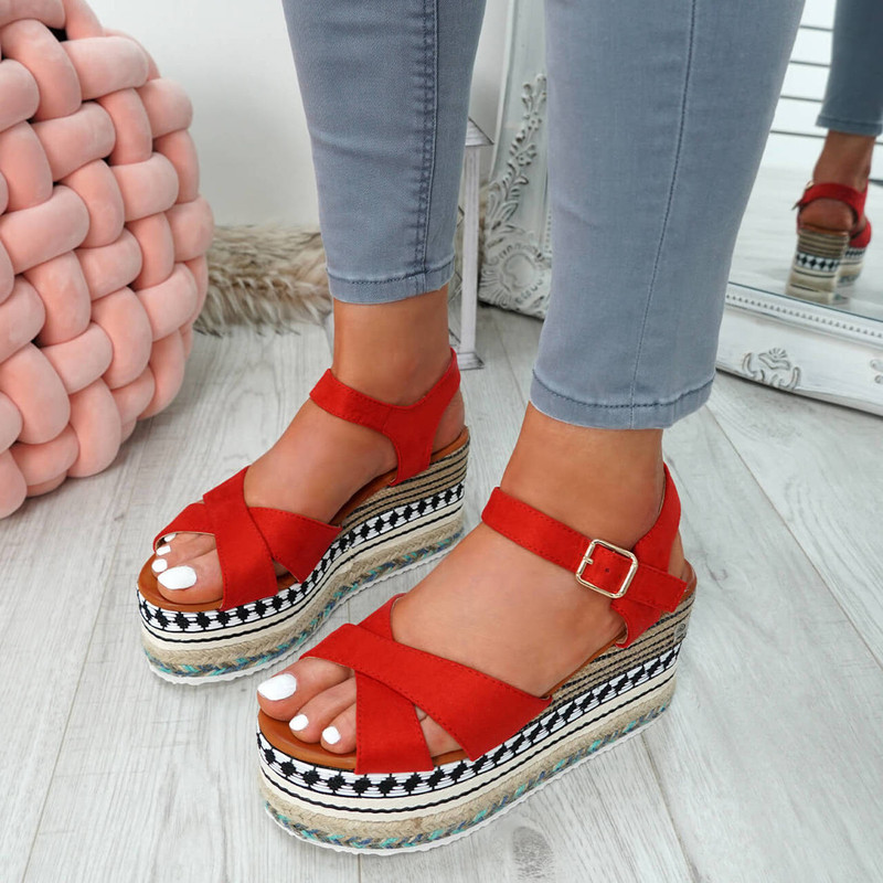 Egis Red Espadrille Flatform Sandals