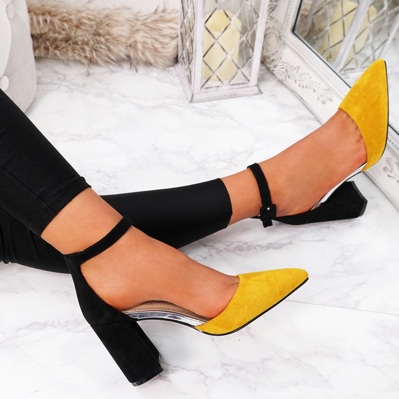 Amara Yellow Block Heel Pumps