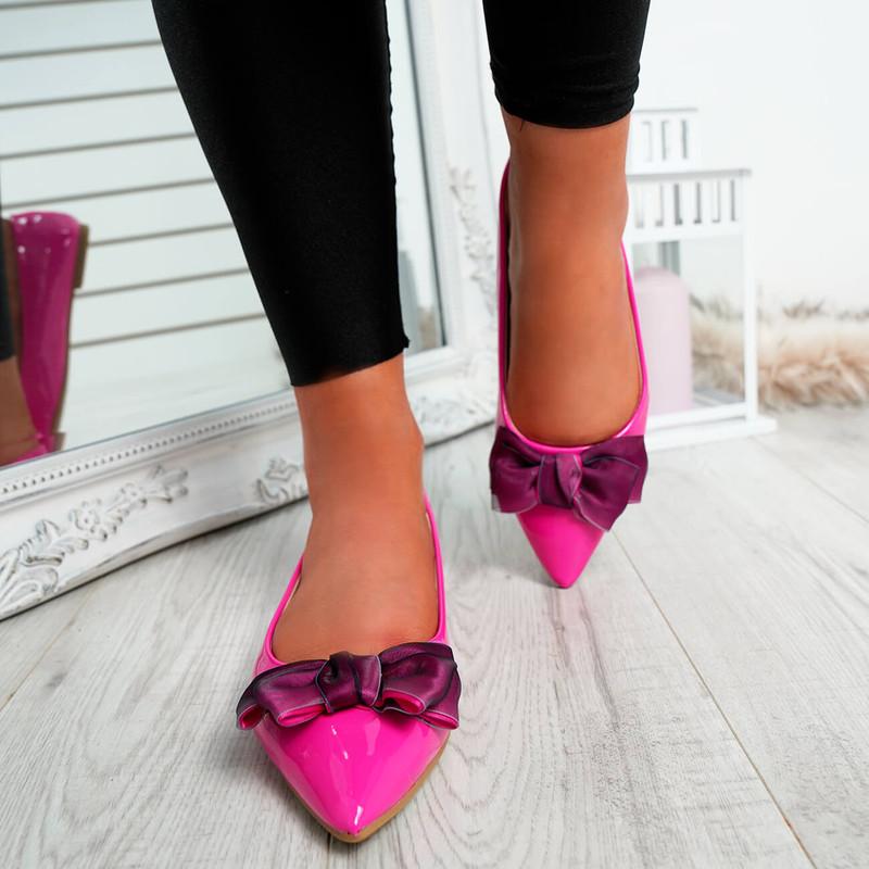 Cofy Fuchsia Bow Pointed Ballerinas