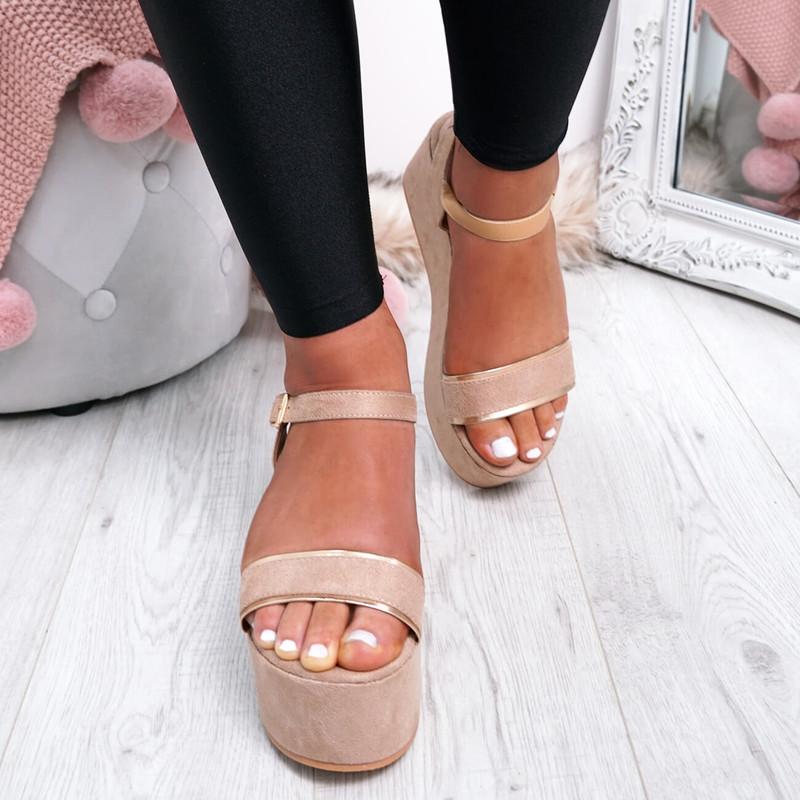Gona Beige Ankle Strap Flatform Sandals
