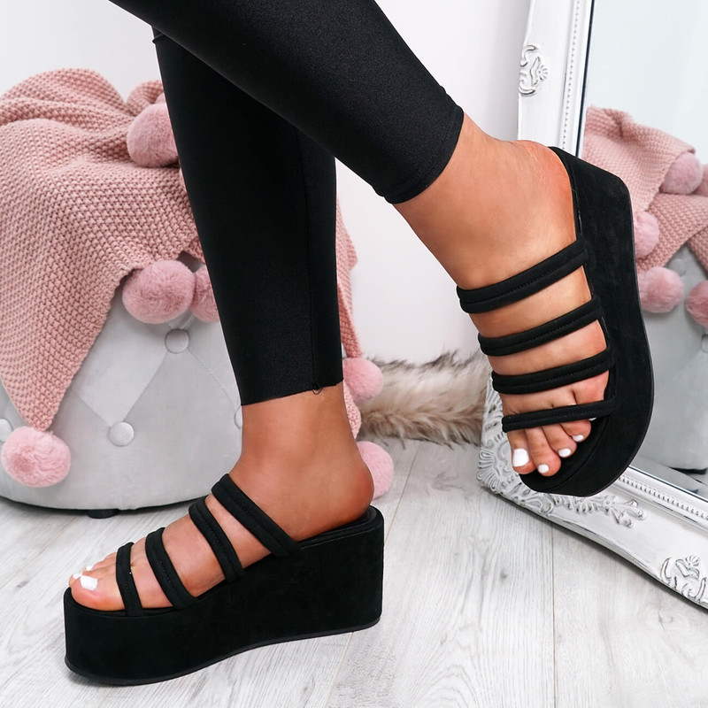 Tonni Black Slip On Flatform Sandals