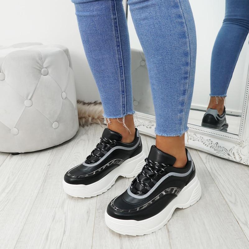Gena Black Pu Chunky Sneakers