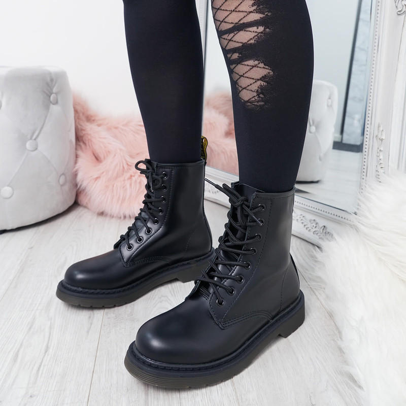 Doba Black Combat Ankle Boots