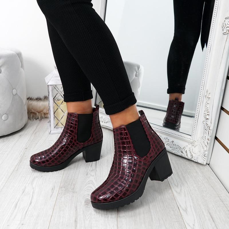 Zimka Burgundy Croc Skin Ankle Boots