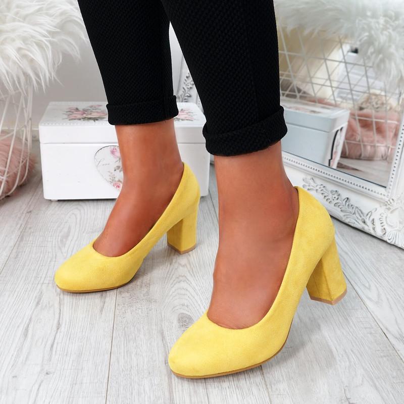 Novia Yellow Slip On Court Pumps