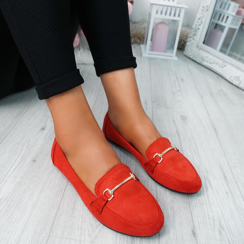 Amma Red Slip On Ballerinas