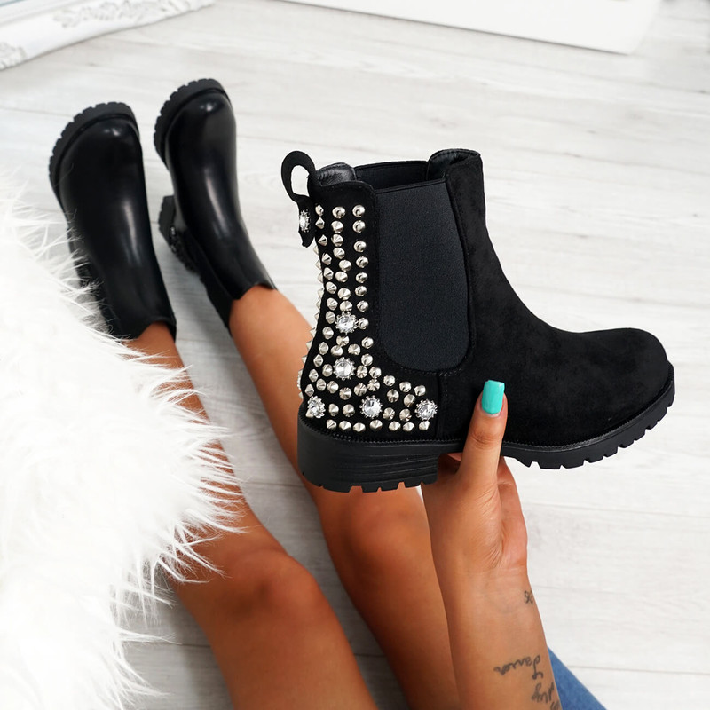 Bavva Black Suede Studded Ankle Boots