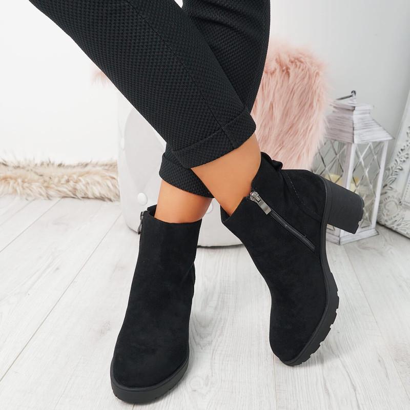 Vaya Black Suede Zip Ankle Boots