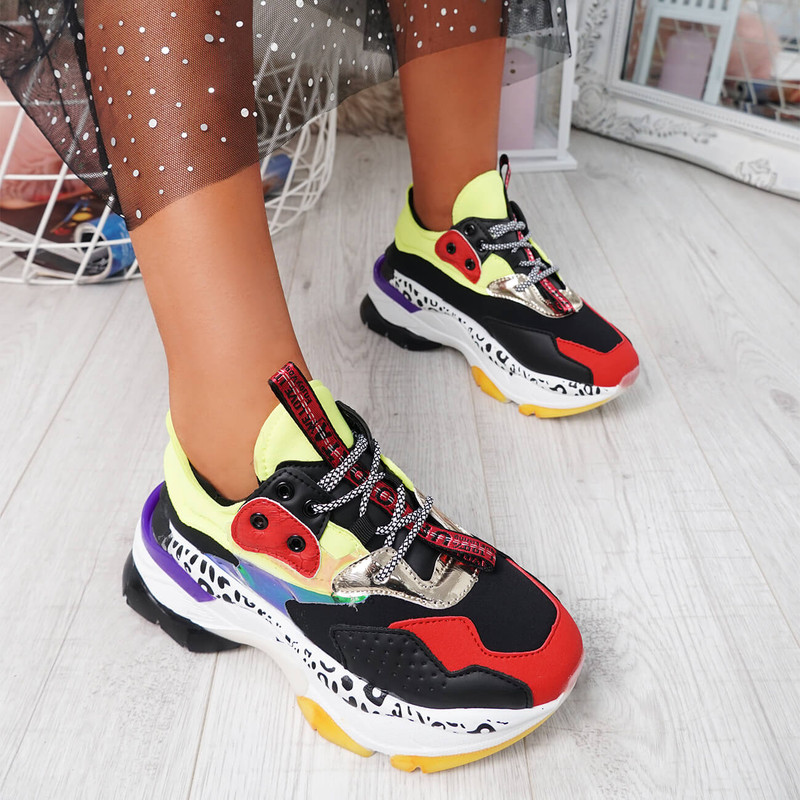Snappa Black Chunky Multicolor Trainers