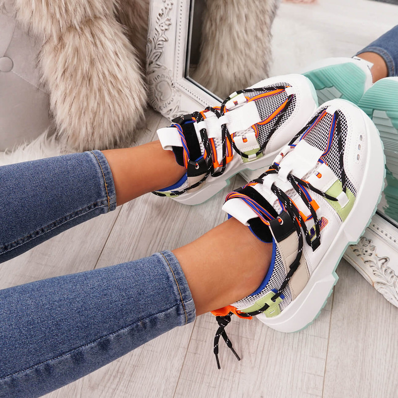 Womens Chunky Sole Sneakers Lace Up Sports Party Platform Trainers Fashion Size