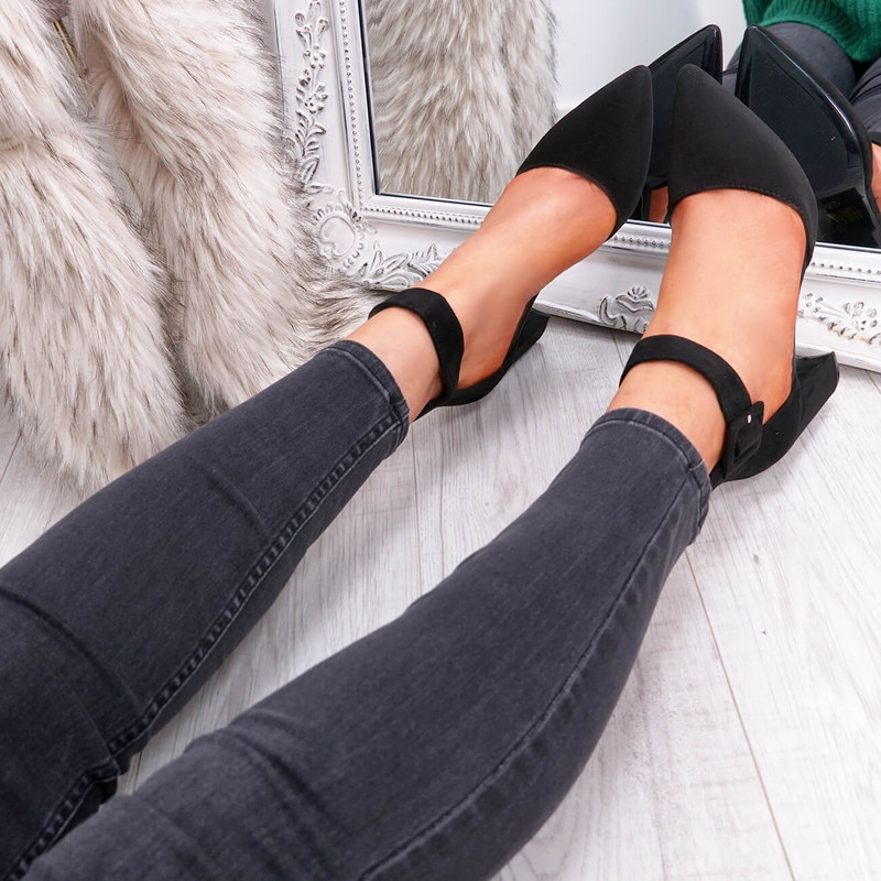 Temma Black Pointed Block Heel Pumps