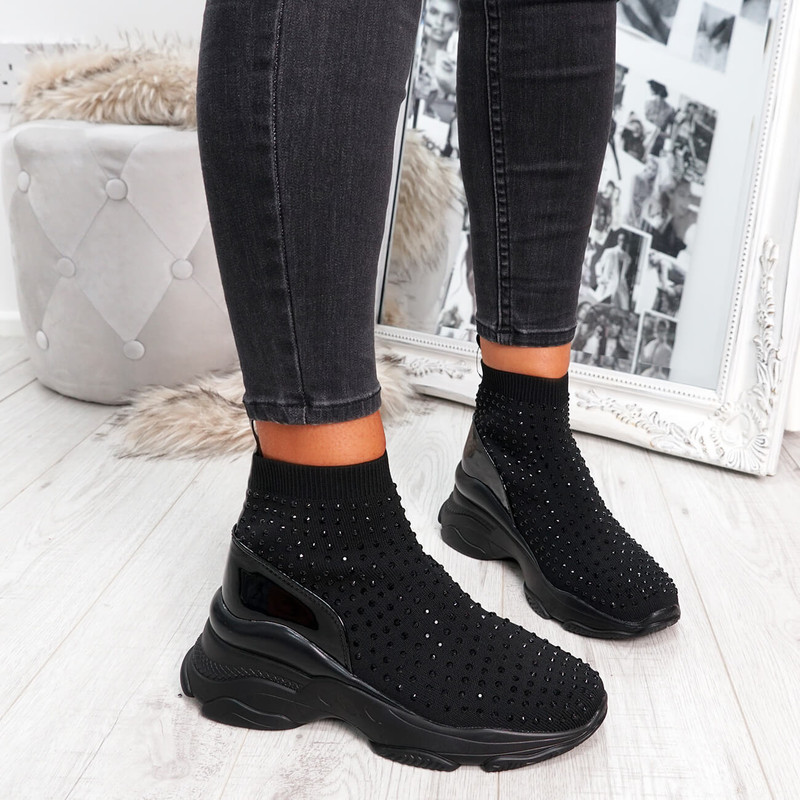 Sock Sneakers for Womens Ladies Girls Chunky Sole Trainers Party Summer Black Shoes Size Uk 3 4 5 6 7 8