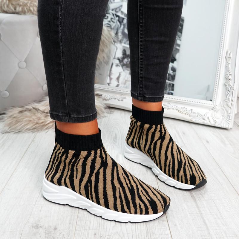 Zebra animal pattern sock sneakers trainers for womens size uk 3 4 5 6 7 8