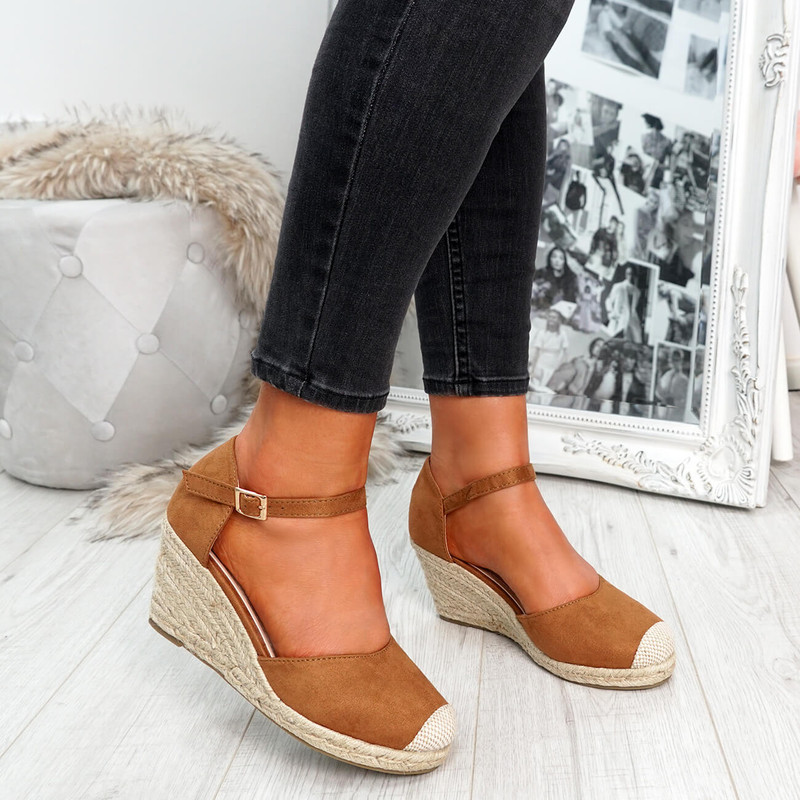womens camel rounded toe espadrille style wedge pumps ankle strap size uk 3 4 5 6 7 8