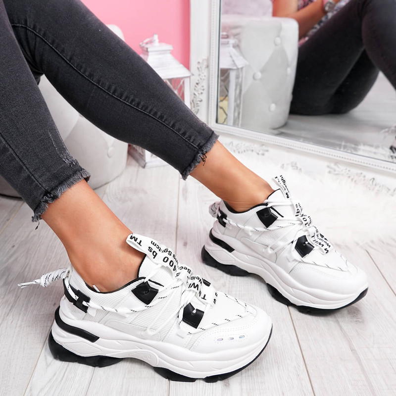 womens ladies lace up chunky sole sneakers party trainers women shoes size uk 3 4 5 6 7 8