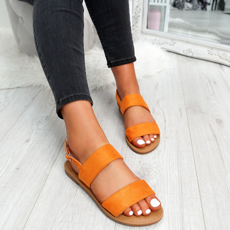 womens ladies faux suede flat sandals slingback summer comfy casual women shoes size uk 3 4 5 6 7 8
