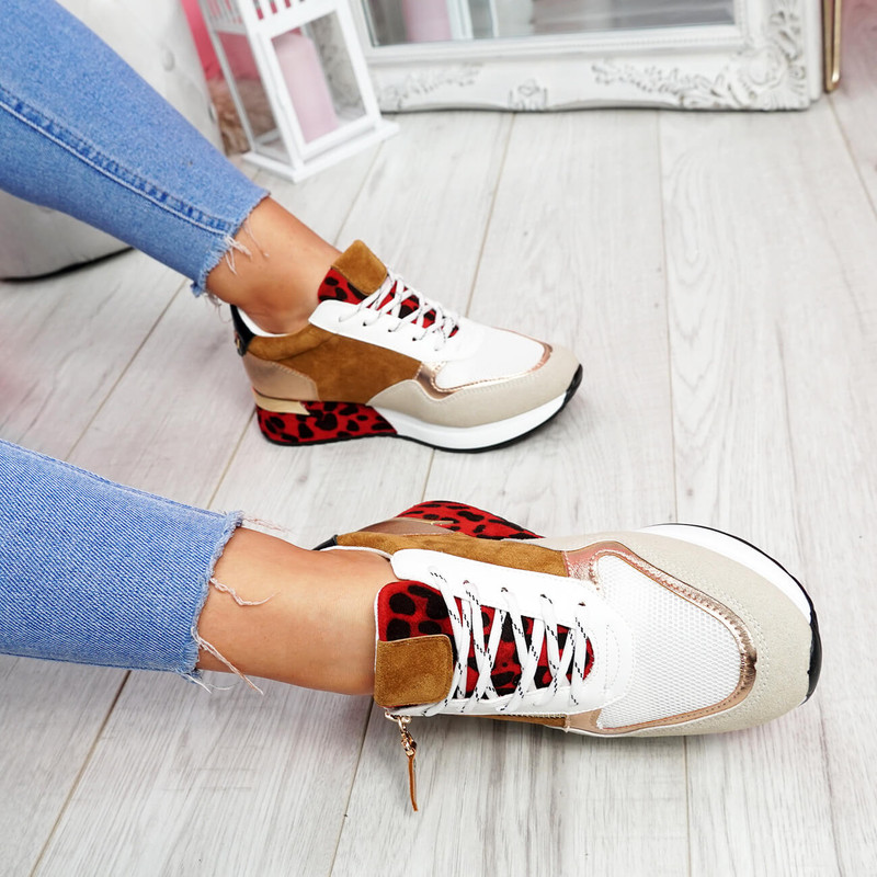 Fidda Camel Lace Up Chunky Sneakers