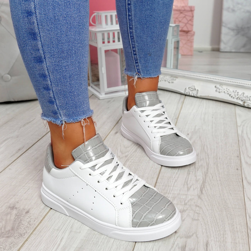 Minna White Grey Croc Lace Up Trainers