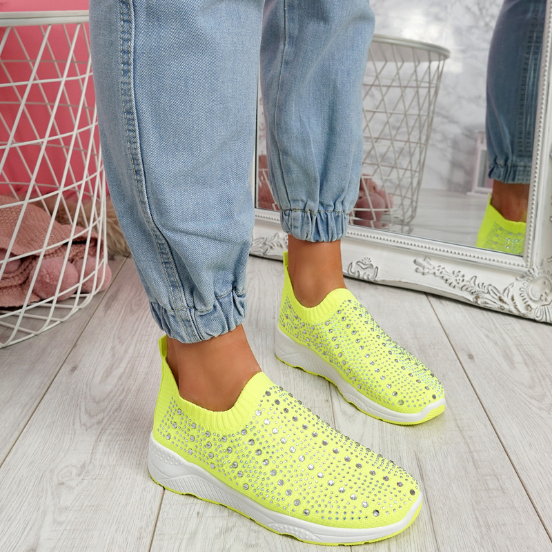 Kenny Yellow Studded Sock Sneakers