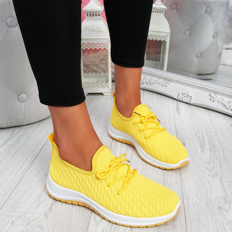 Ligy Yellow Knit Lace Up Sneakers