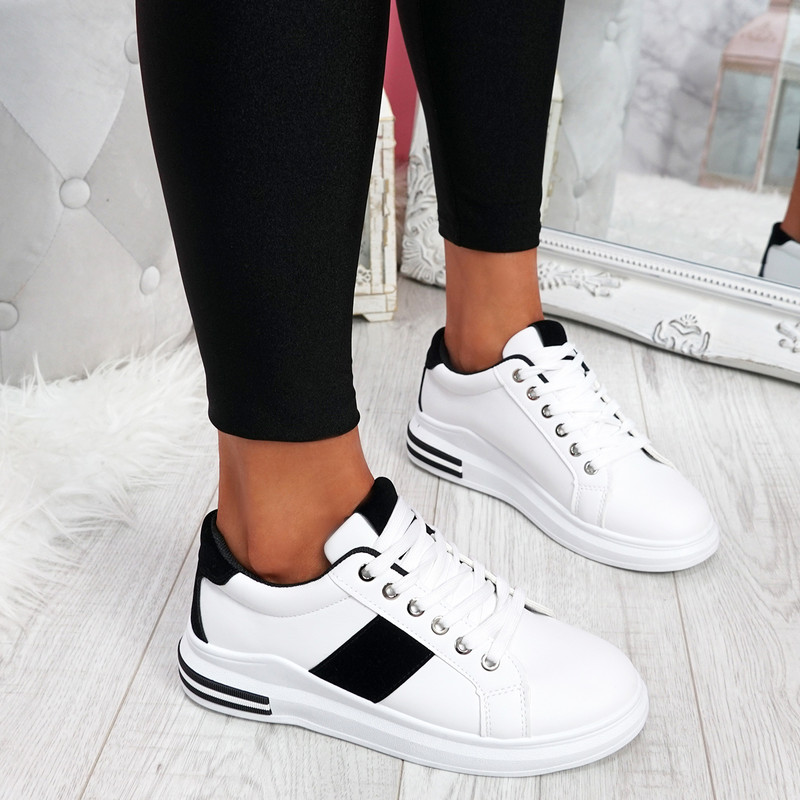 Lossa White Black Lace Up Trainers