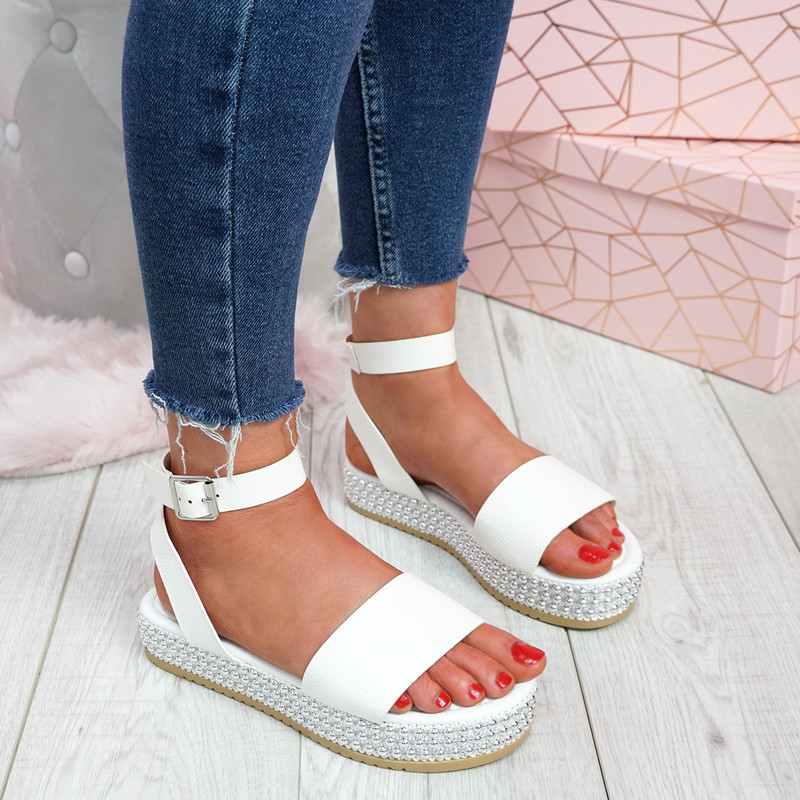 Golly White Studded Platform Sandals