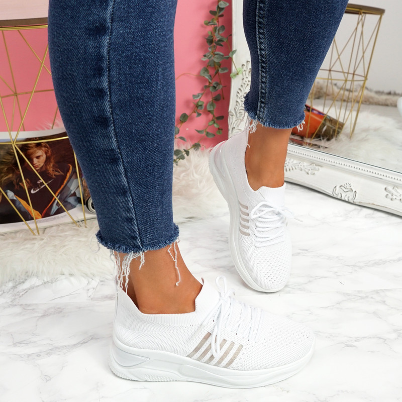 Bello White Lace Up Walking Trainers
