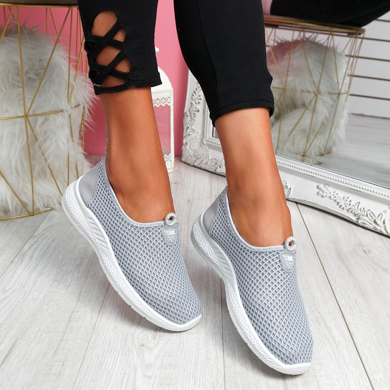 Onno Grey Slip On Running Sneakers