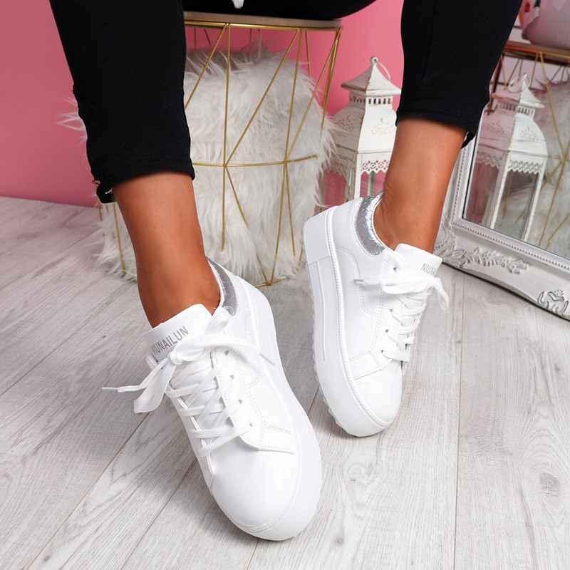 Nomy White Silver Croc Trainers
