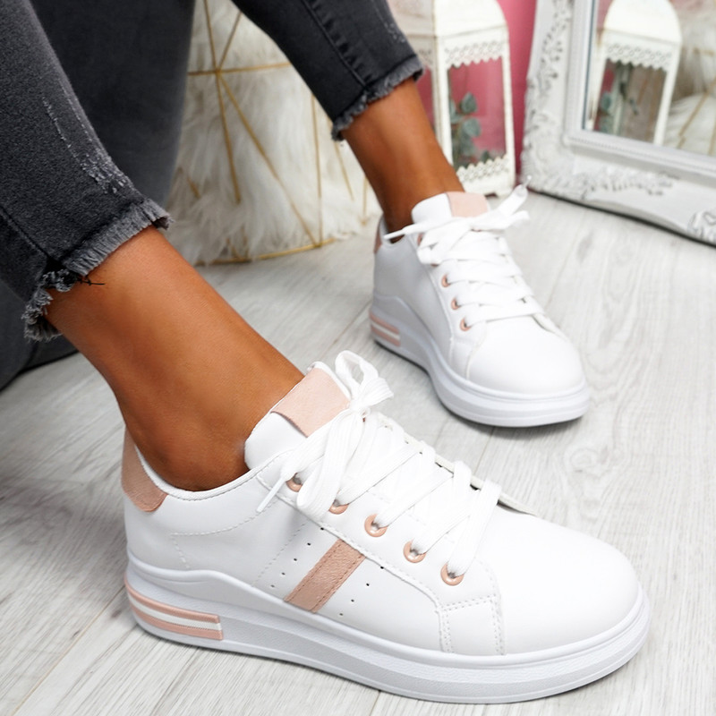 Snawa White Pink Lace Up Trainers