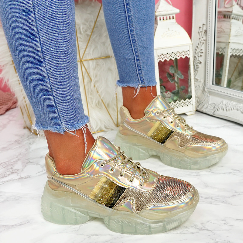 Lenny Gold Chunky Trainers